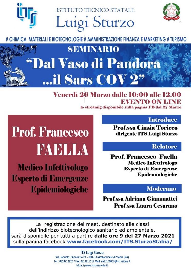 """SEMINARIO """"Dal Vaso di Pandora …il Sars COV 2"""""""