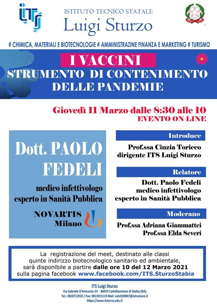I VACCINI STRUMENTO  DI CONTENIMENTO DELLE PANDEMIE – EVENTO ON LINE